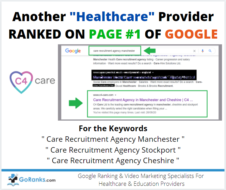 """Another """" Healthcare Business """" Ranked on Page 1 of Google down to Go Ranks!"""