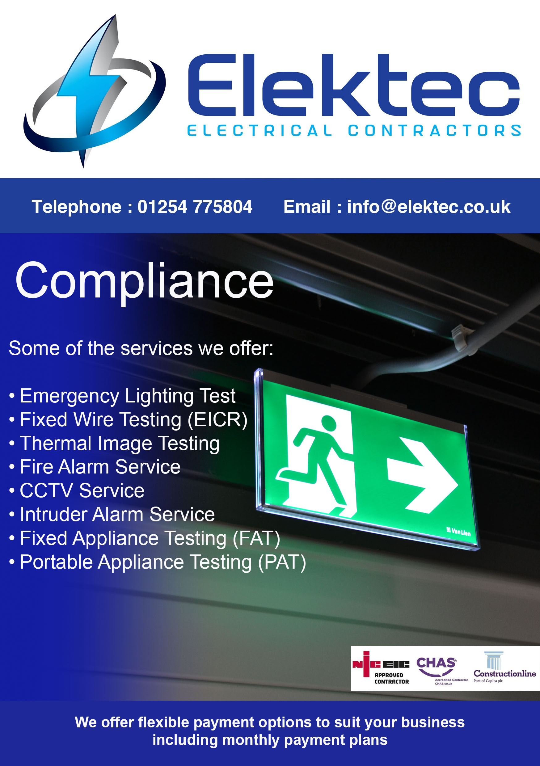 Electrical compliance - Elektec introduce monthly payment plans!